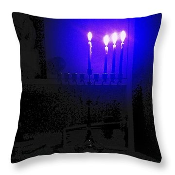 Blue Hanukkah On The Third Day Throw Pillow