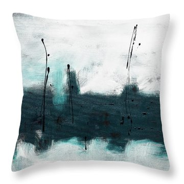 Throw Pillow featuring the painting Blue Harbour by Carmen Guedez