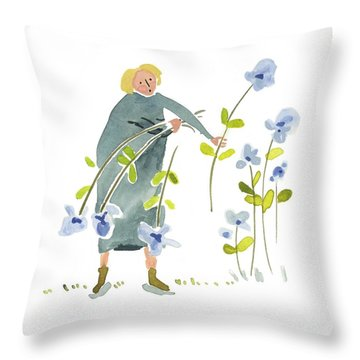 Throw Pillow featuring the painting Blue Harvest by Leanne WILKES