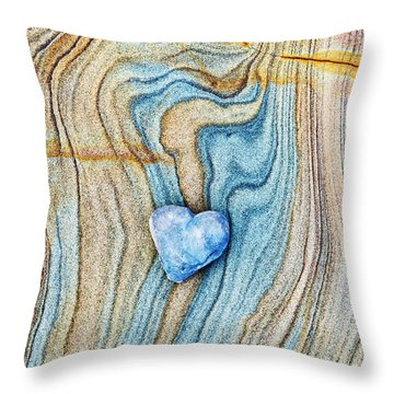 Throw Pillow featuring the photograph Blue Heart Stone by Tim Gainey