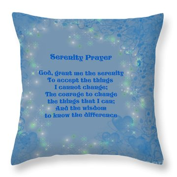 Blue Hearts Serenity Prayer Throw Pillow