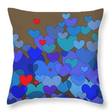 Blue Hearts Throw Pillow