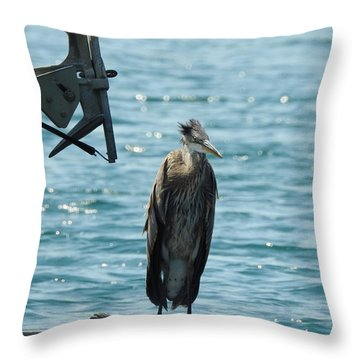 Blue Heron #1 Throw Pillow