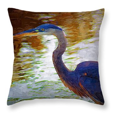 Throw Pillow featuring the photograph Blue Heron 2 by Donna Bentley