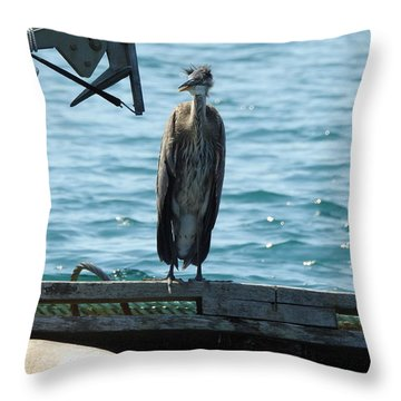 Blue Heron #2 Throw Pillow