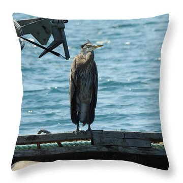 Blue Heron #3 Throw Pillow