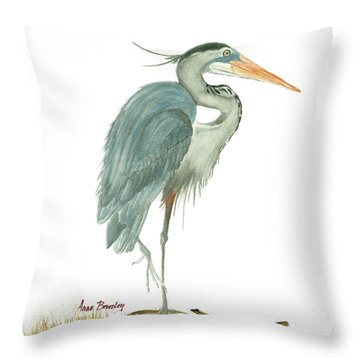 Throw Pillow featuring the painting Blue Heron by Anne Beverley-Stamps