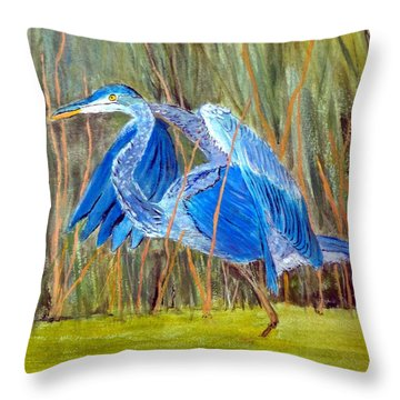 Blue Heron In Viera  Florida Throw Pillow