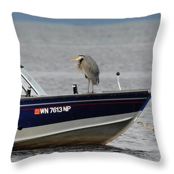 Blue Heron Boat Ride Throw Pillow