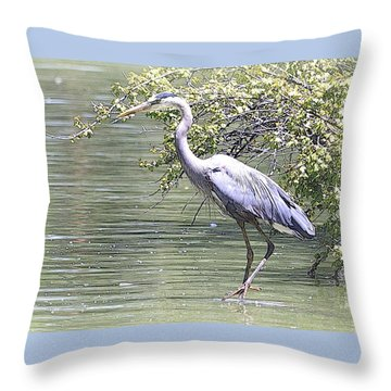 Blue Heron Throw Pillow by Clarice  Lakota