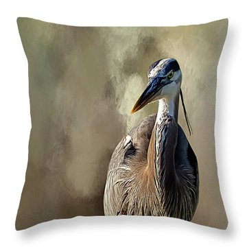 Blue Heron Throw Pillow by Cyndy Doty