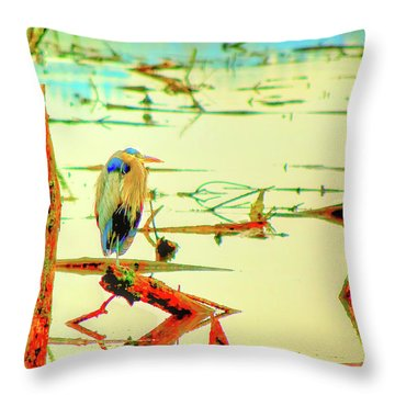 Blue Heron Throw Pillow by Dale Stillman