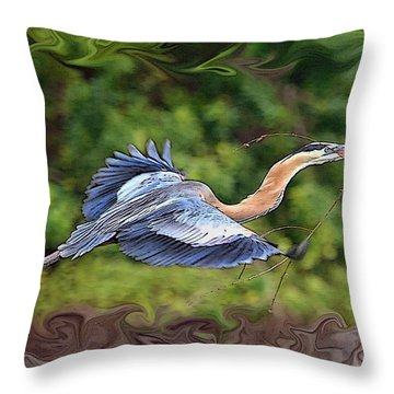 Throw Pillow featuring the photograph Blue Heron Flight by Shari Jardina
