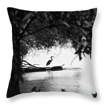 Blue Heron In Black And White. Throw Pillow