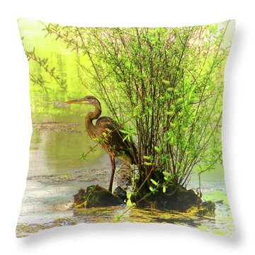 Throw Pillow featuring the photograph Blue Heron Island by Ola Allen