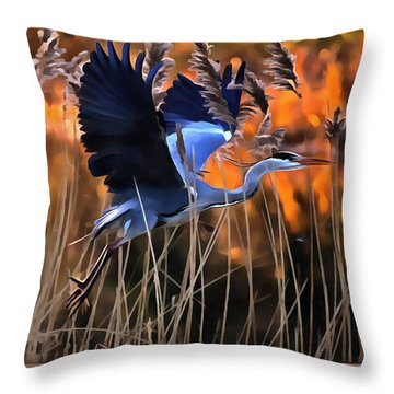 Throw Pillow featuring the photograph Blue Heron by Jack Torcello