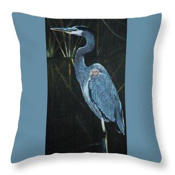 Blue Heron Throw Pillow by Jean Yves Crispo