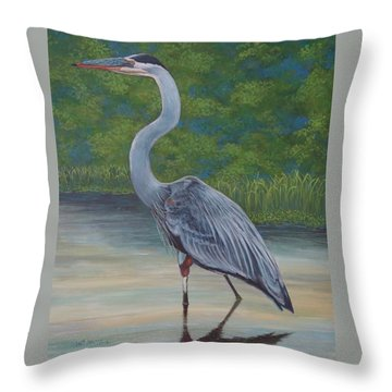 Throw Pillow featuring the painting Blue Heron by Jeanette Jarmon