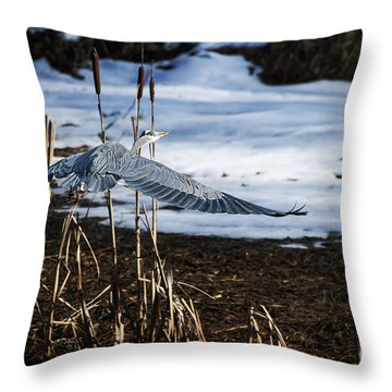 Throw Pillow featuring the photograph Blue Heron by Jim  Hatch
