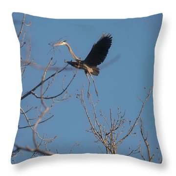 Throw Pillow featuring the photograph Blue Heron Landing by David Bearden