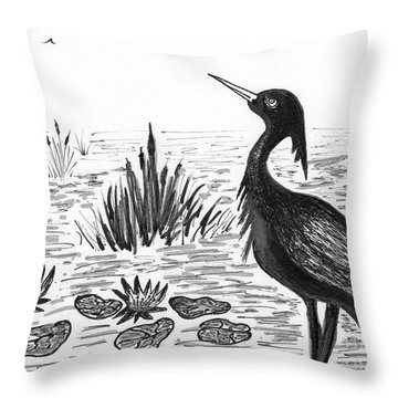 Crowned Night Heron Lily Pond Paradise In Ink D1 Throw Pillow