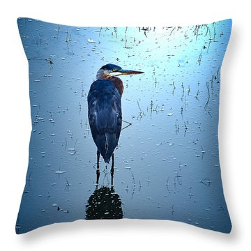 Blue Heron Throw Pillow by Loni Collins