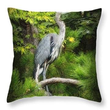 Throw Pillow featuring the photograph Blue Heron by Lydia Holly