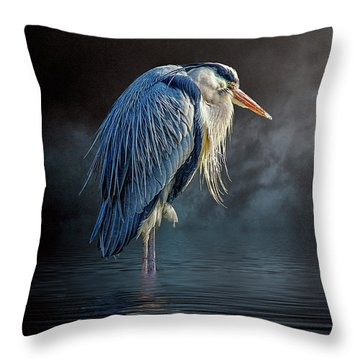 Blue Heron Moon Throw Pillow by Brian Tarr