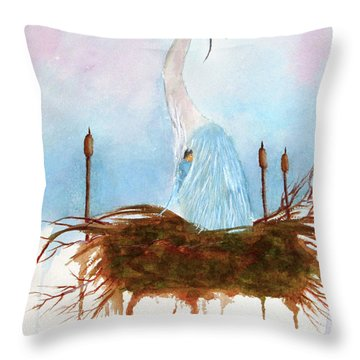 Blue Heron Nesting Throw Pillow
