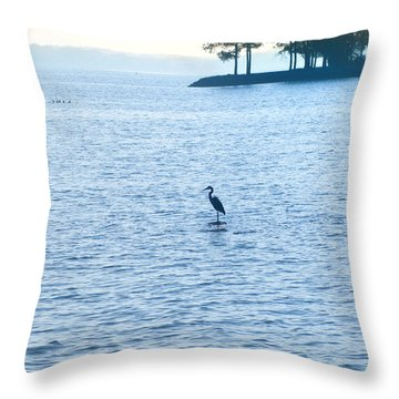 Blue Heron On The Chesapeake Throw Pillow by Bill Cannon