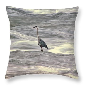 Blue Heron On The Grand River Throw Pillow