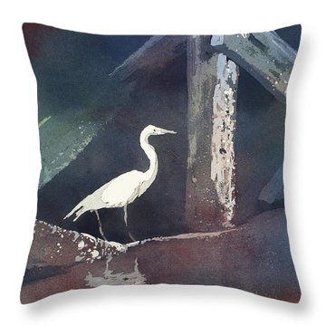 Throw Pillow featuring the painting Blue Heron- Outer Banks by Ryan Fox