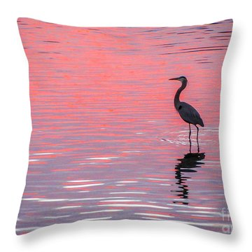 Throw Pillow featuring the photograph Blue Heron - Pink Water by Tom Claud