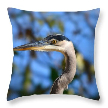 Blue Heron Profile Throw Pillow
