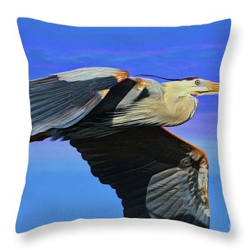 Throw Pillow featuring the painting Blue Heron Series Fly by Deborah Benoit