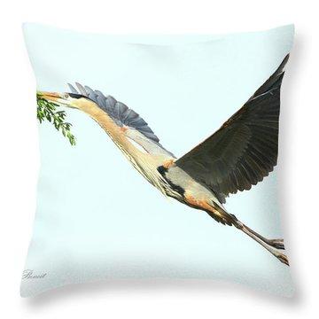 Throw Pillow featuring the photograph Blue Heron Series Twig 2017 by Deborah Benoit