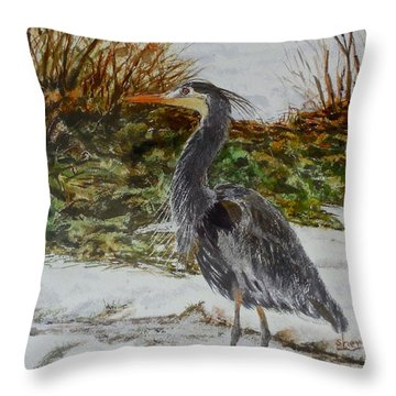 Throw Pillow featuring the painting Blue Heron by Sher Nasser