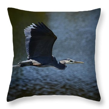 Blue Heron Skies  Throw Pillow by Saija  Lehtonen