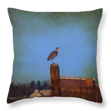 Blue Heron Sky Painted Throw Pillow