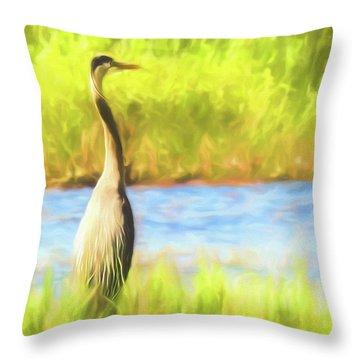 Blue Heron Standing Tall And Alert Throw Pillow