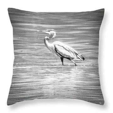Blue Heron Strut Throw Pillow