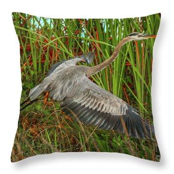 Blue Heron Take-off Throw Pillow