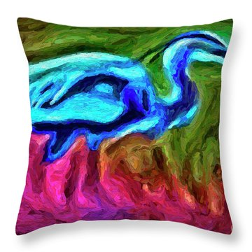 Throw Pillow featuring the photograph Blue Heron by Walt Foegelle