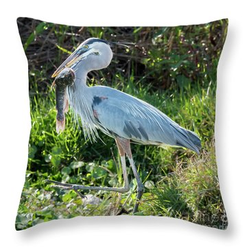 Blue Heron With Fish Throw Pillow