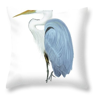 Throw Pillow featuring the painting Blue Heron With No Background by Anne Beverley-Stamps