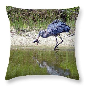Blue Heron's Lucky Day Throw Pillow