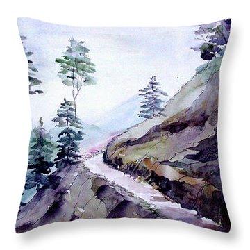 Blue Hills Throw Pillow by Anil Nene
