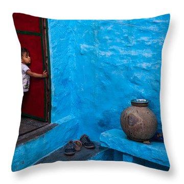 Blue Home Throw Pillow