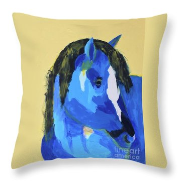Throw Pillow featuring the painting Blue Horse 2 by Donald J Ryker III