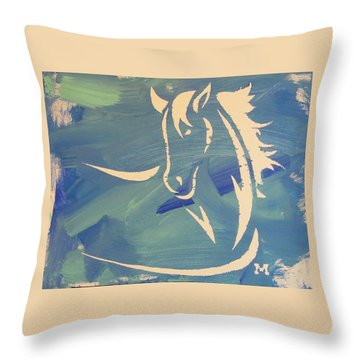 Blue Horse Sky Throw Pillow